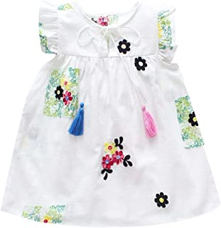 2914bf4fac9 LUBITY Robe Filles Chic Revers sans Manches Volants Robe Mode Broderie  Florale Frange Princesse Robe Pas
