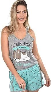 Baby Doll Ayron Fitness Bull Dog Azul Feminino Curto