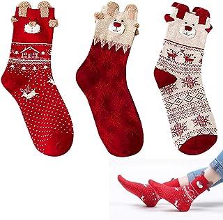 nuluxi, Nuluixi 3D Patrones Calcetines de Santa Termicos Calcetines de Navidad Térmicos de Piso Calcetines de Casa Suave Cómodo Gruesa de Invierno Calcetines de Algodón de Navidad para Mujeres