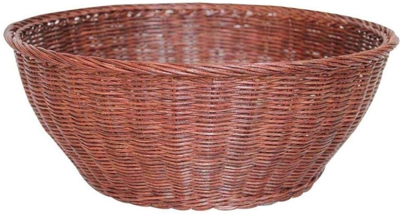 Bread Basket- Craftsmanship Art Rattan Storage Basket Fruit Bowl Dried Fruit Plate Round Storage Basket Autumn Rattan Basket Vintage Melon Fruit Basket ZXMDMZ (Size   Medium)