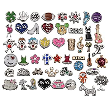 RUBYCA Metal Floating Charms for Glass Living Memory Lockets Wholesale Gold Silver Color Lot Mix 9 DIY 50pcs