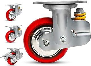 4 stks Heavy Duty wielen, ø150 mm/200 mm veerbelaste demping wielen, dempend slijtvaste polyurethaan industriële zwenkwiel...