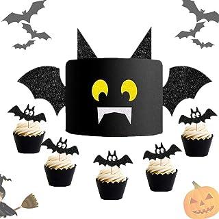 LaVenty Set of 16 Halloween Bat Cake Topper Haunted House Cake Topper Halloween Cake Decoration Bat Cupcake Topper for Hal...