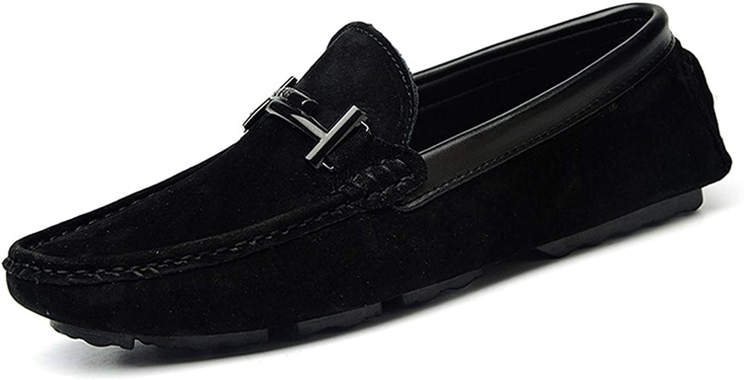 It's a big deal Slip On Men Casual shoes Pig Suede Male shoes Men Soft Driving Loafers Moccasins Sewing Breathable,Black,8