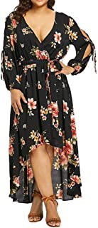 Party Dress Plus Size Long Dress Women Casual Short Sleeve Cold Shoulder Boho Flower Print
