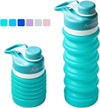 Anntrue Collapsible Water Bottle BPA Free, FDA Approved Food-Grade Silicone Portable Leak Proof Travel Water Bottle, 18oz