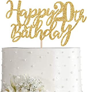 Gold Glitter Happy 20th birthday cake topper, Gold 20 years old birthday party decorations, girl or boy birthday cake toppers