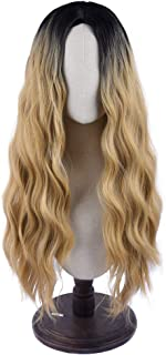 SEIKEA Women Color Wig Long Curly Hair Ombre with Root Girl Cosplay Costume Synthetic Hairpiece - Light Brown/Light Blonde Mix