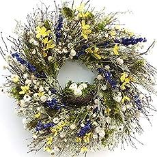 "VanCortlandt Farm Soft Elegant Avena Oats And Ammobium Dried Floral Wreath 22"""