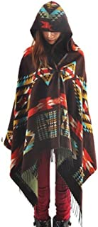 Amy Babe Aztec Print Bohemian Blanket Poncho Cape Shawl Tassel with Hoodie Cloak