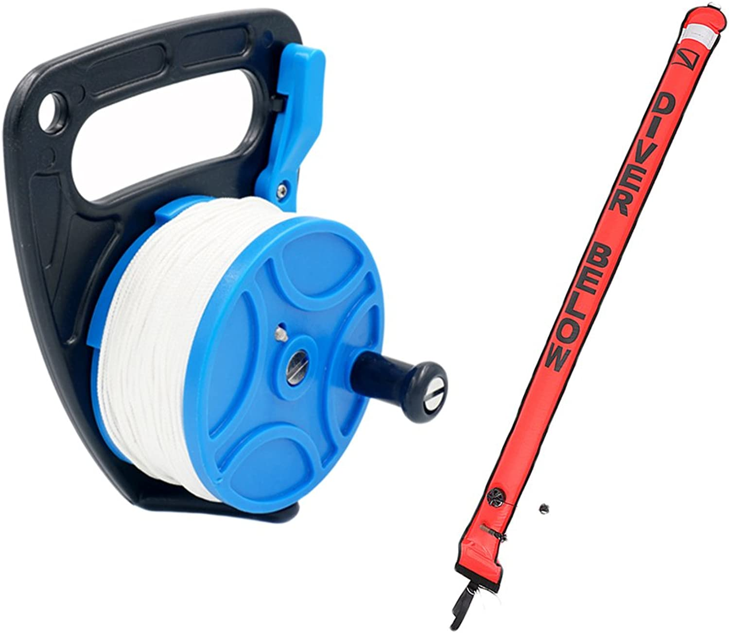 Baosity Dive Reel 83m with Handle + 180cm Divers Surface Marker Buoy Quick Inflating