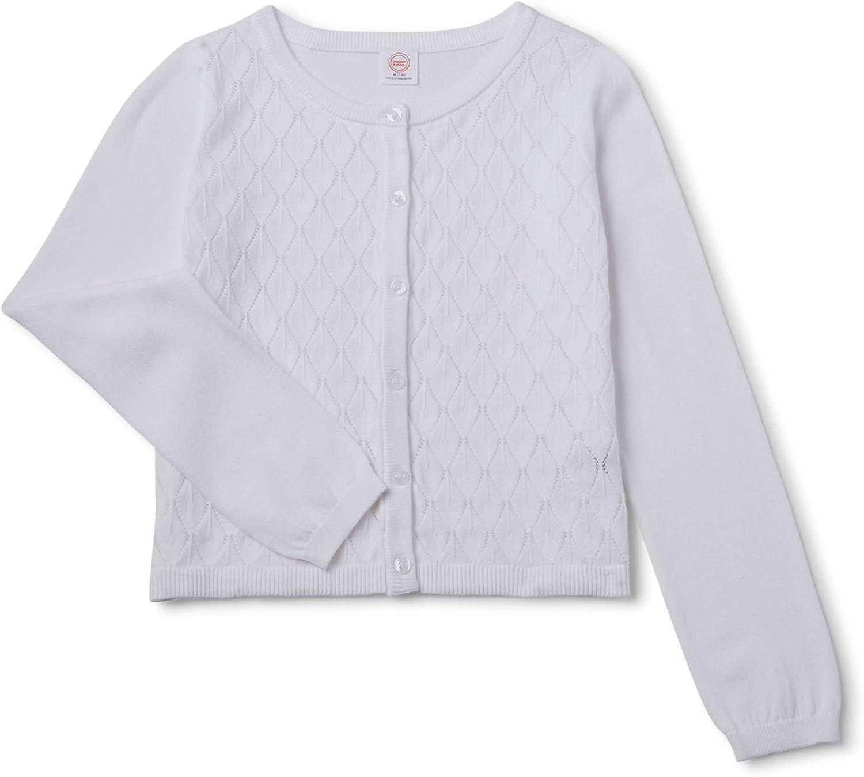 WonderNation Girls Cotton White Cardigan Sweater (XXL (18)