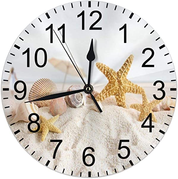CCshopping Starfish Seashell On Sand Beach Ocean Summer 9 8 Inches Round Wall Clock Silent Non Ticking Battery Operated Wall Clocks