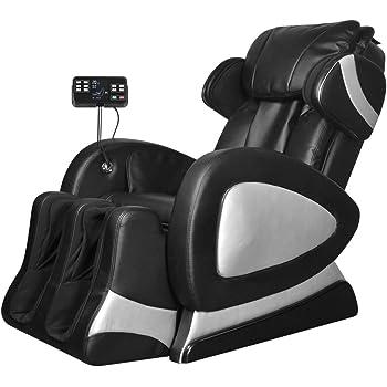 Tidyard Fauteuil de Massage Electrique en Cuir Artificiel - Repose-Pied et Dossier Réglables - Massage de Pétrissage - Doux et Confortable - Noir
