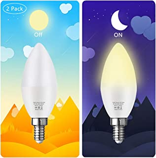 Bogao E12 Candelabra LED Bulb, Dusk to Dawn Light Sensor Light Bulbs, 6W(60W Equivalent), Warm White 3000K, Candelabra Base, Porch Driveway Security Light LED Candle Bulb, Not Dimmable, 2 Pack