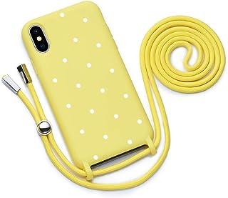 QULT Funda con Cuerda Compatible con iPhone XS, iPhone X Carcasa de movil con Colgante Cadena Suave Silicona Necklace Bumper Case Amarillo Motivo Puntos Blancos