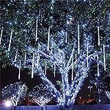 Meteor Shower Lights, Rain Drop Lights 8 Tube 11.81 Inch 192 LED Snowfall Led Lights, Waterproof Garden Lights for Halloween Christmas Holiday Tree Wedding