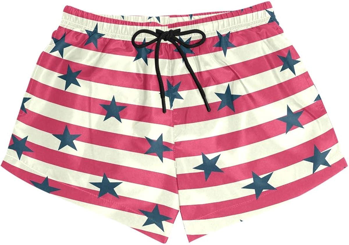 CENHOME 67% OFF of fixed price Women Swim Trunks Red White Stars B depot Pattern Striped Navy