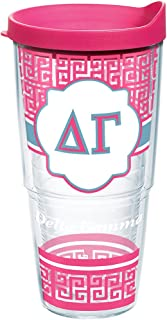 Tervis 1172670 Sorority - Delta Gamma Geometric Tumbler with Wrap and Fuchsia Lid 24oz, Clear