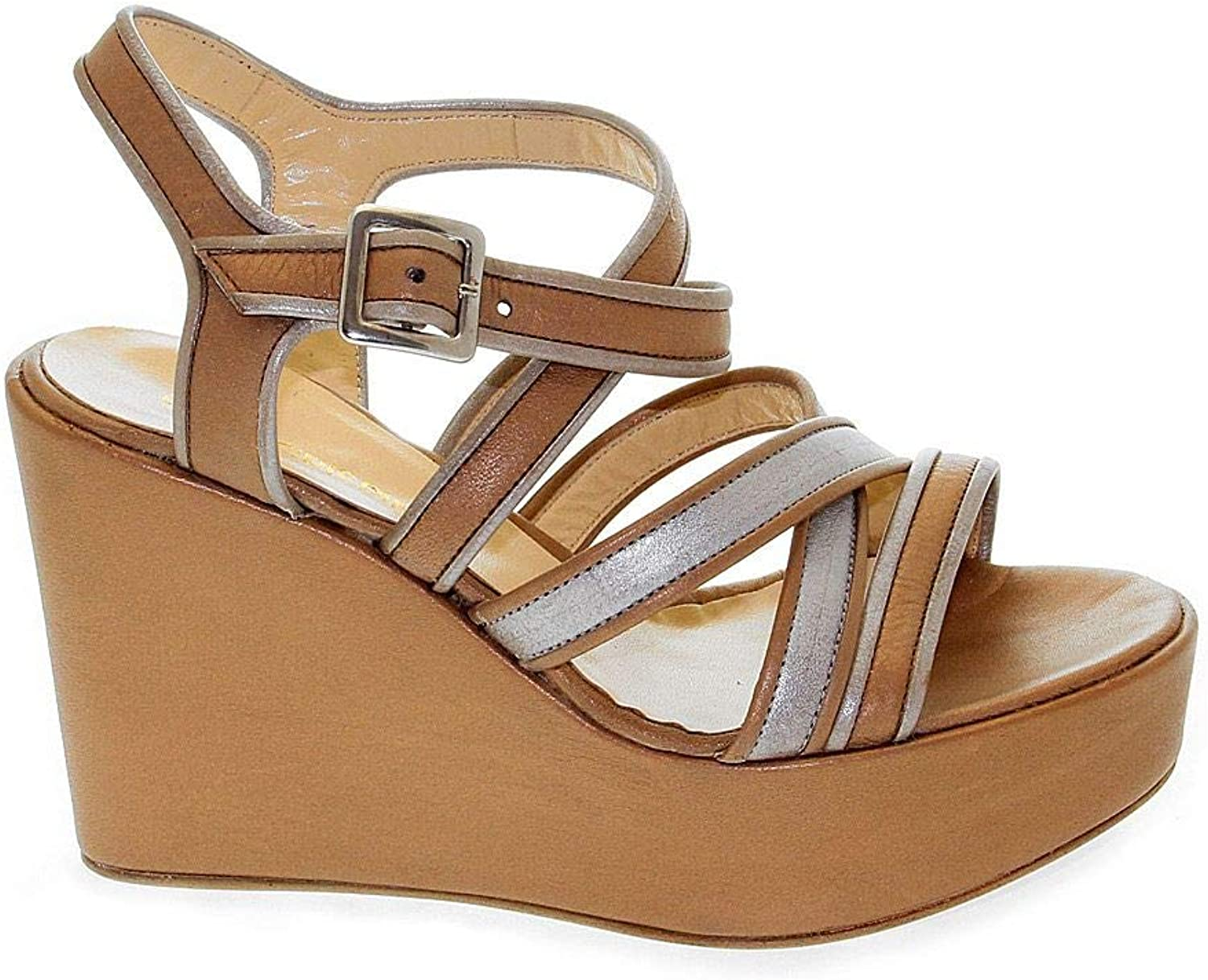 SAN CRISPINO Women's 823BBROWN Brown Leather Wedges
