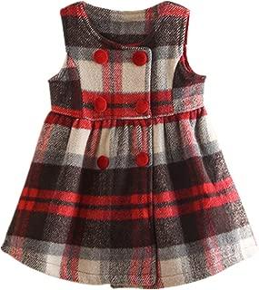 LittleSpring Girls Jumper Fleece Plaid Sleeveless Dress 2-7 Years