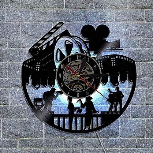 BFMBCHDJ Paar Zuschauen Kino Popcorn Vinyl Schallplatte Wanduhr Retro Dekoration Uhr Wanduhr 3D Vinyl Wand A3 Mit LED 12 Zoll