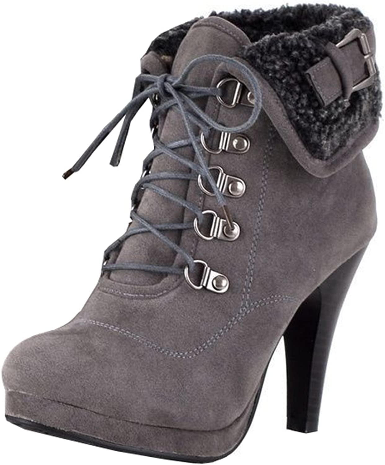 IDIFU Women's Vintage Folded Stiletto High Heels Fleece Lined Lace Up Ankle Martin Boots