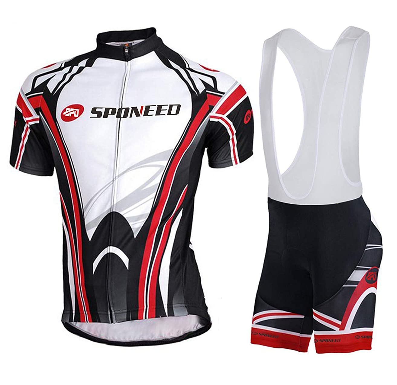 sponeed Men's Shorts Bib and Jersey Cycling Kits Set Road Bike Outdoor Riding Sportswear