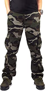 Men's Outdoor Casual Loose Multi Pocket Cargo Pants Solid Military Athletic-Fit Trousers by Summer