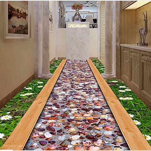 Mddj Fotobehang op 3D-vloeren voor muren, gras, wild, bloem, stone road, bathroom Living Room Corridoio 3D-wandtapijt, waterdicht 200 x 140 cm