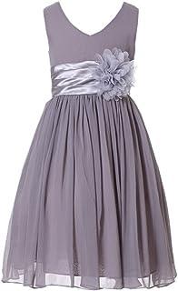 147995ae14 Bow Dream Junior Bridesmaids V-Neckline Chiffon Flower Girl Dress
