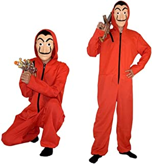 Salvador Dali Money Heist The Paper House La Casa De Papel Costume Halloween Hoodie Coverall Jumpsuit Red with Mask Unisex