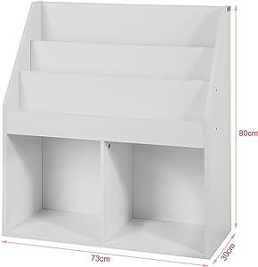Haotian White Children Kids Bookcase Book Shelf Storage Display Rack Organizer Holder (KMB01-W-FBA-2)