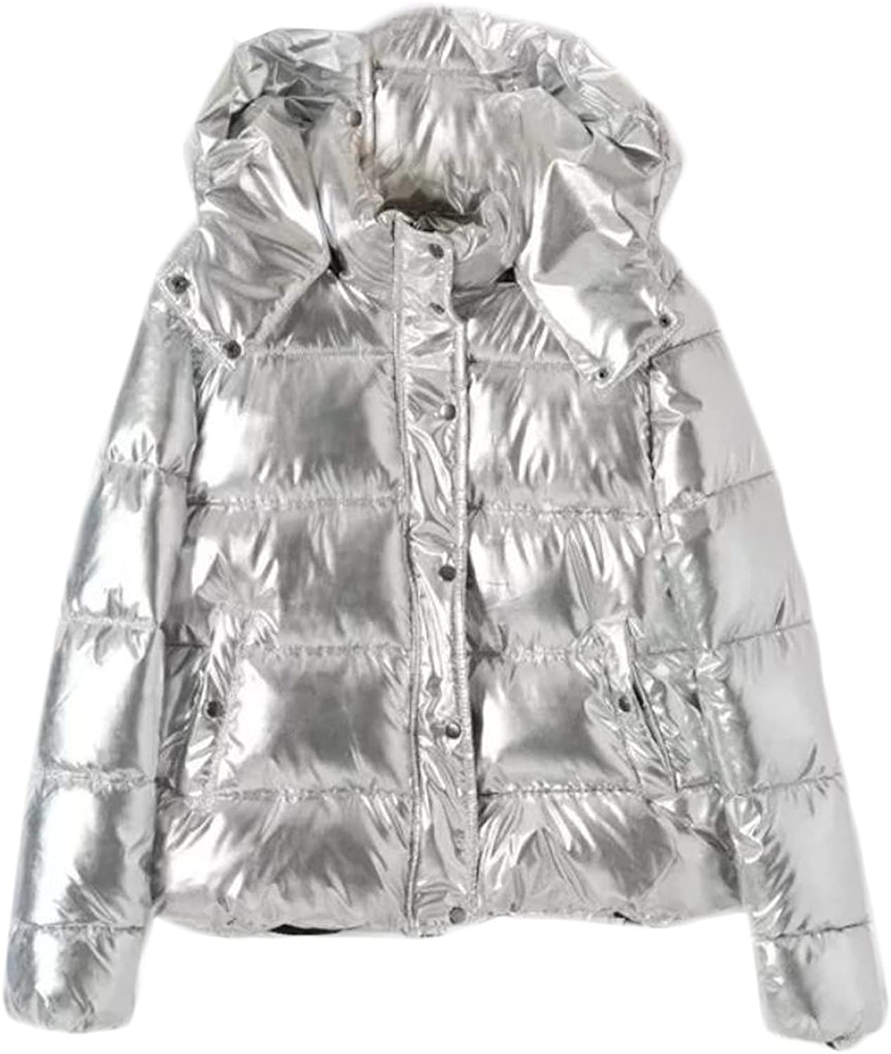 Big Tang Womens Glossy Thicken Metallic Button Hooded Puffer Parka Coat