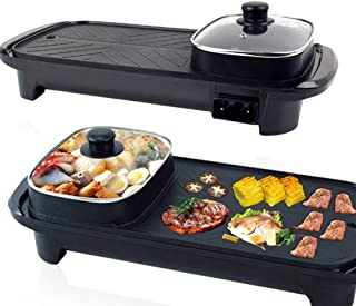 Konfulon Smokeless Non-Stick Indoor 2 in 1 Electric BBQ Grill & Hot Pot Rectangular multi-functional shabu hot pot Electri...
