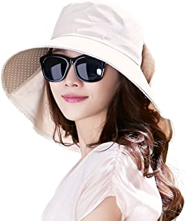 Siggi Ladies UPF50+ Cotten Sun Hats Packable Wide Brim with Neck Protection & Chin Strap Womens 56-58CM