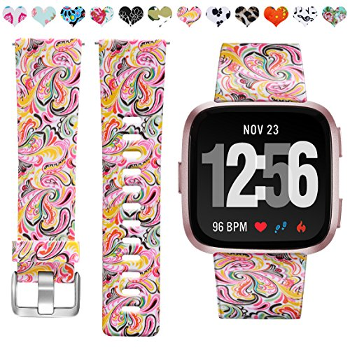 Maledan Bands Compatible with Fitbit Versa Women Men, Fadeless Pattern Replacement Strap Printed Floral Bands Compatible with Fitbit Versa 2/Versa/Versa Lite SE Smartwatch, Paisley Pattern, Small