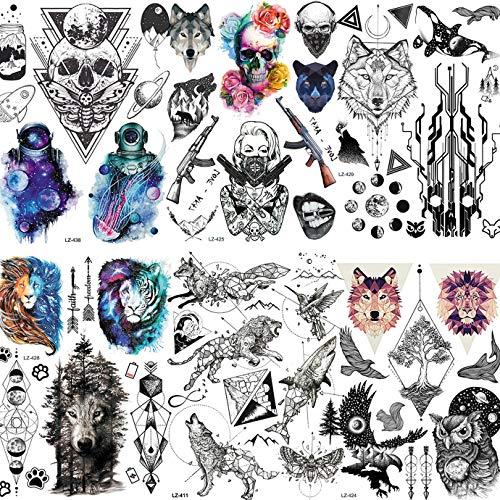 EGMBGM 6 Sheets Outer Space Face Temporary Tattoos For Kids Halloween Watercolor Skull Skeleton Geometric Animal 3D DIY Children Women Small Fake Tattoos Temporary Star Girls Boys Tatoos Kit Astronaut