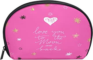 ALAZA I Love You to the Moon and Back Half Moon Cosmetic Makeup Toiletry Bag Pouch Travel Handy Purse Organizer Bag for Women Girls