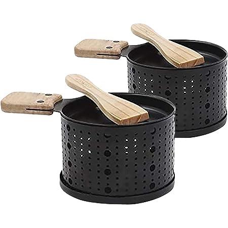 COAO -Une raclette à la Bougie -Fondue à Fromage -Faites Fondre Votre Fromage en 3 Minutes - A Table, Devant la télé ou même en Pique Nique - Spatule Bois inclues - sans électricité (noir, 2 article)