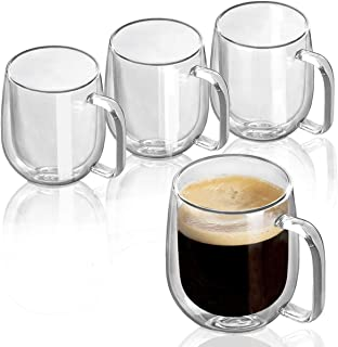 Double Wall Glasses Clear Coffee Mugs Tea Cups Set of 4-8OZ, Thermal Insulated and No Condensation with Handle
