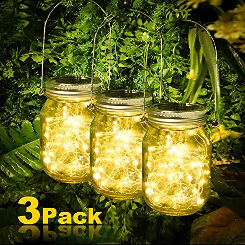 3 Stück Solarlampen fur Garten, 30 LED Solar Einmachglas Aussen Lampions, Solar Mason Jar Licht, Lichterkette im Glas, Solar Glas Warmweiß Garten Hängeleuchten für Außen, Party, Wand, Tisch