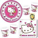 Hello Kitty-Party-Set Hello Kitty Hearts Partyset 52tlg. für 16 Gäste Teller Becher Servietten