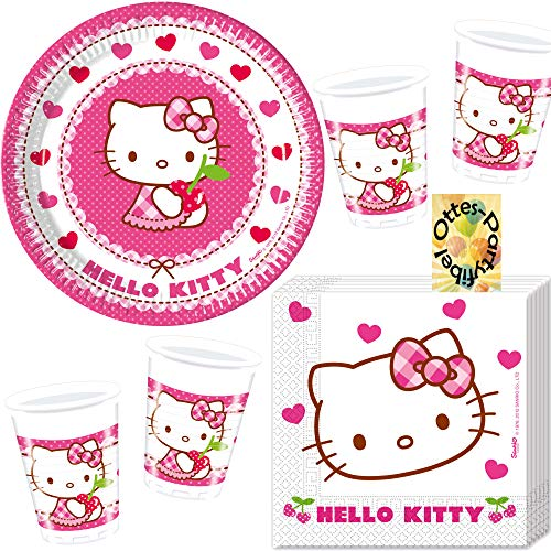 Hello Kitty-Party-Set Hello Kitty Hearts Partyset 52tlg. für 16 Gäste Teller Becher Servietten