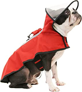 Gooby 76000-RED-L Dog Rain Coat with Functional Adjustable Rain Cap, Large, Red