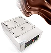QIZHI Commercial Electric Chocolate Warmer Boiler Tempering Machine Melting Pot Double Tanks Electric Chocolate Heater Digital Control Two Pan Electric Chocolate Melter