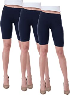 IndiWeaves Women's Cotton Cycling Shorts (Csw01-03-iw_Navy Blue_36) Pack of 3