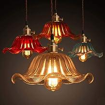 Retro Persoonlijkheid Nostalgische Coffee Single Head Lamp Restaurant Bar Glas Lampenkap Lotus Kleine Kroonluchter 20cm, 2...