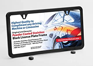 Black License Plate Frame 2 Holes, Stainless Steel Holder, Slim with Premium Stainless License Plate Screws Kit, Christensen and Nielsen
