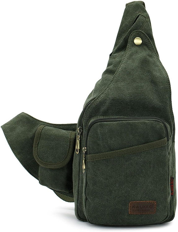 AFCITY Canvas Sling Bag Brust Pack Reise Unwucht Crossbody Taschen Mnner Frauen mit Verstellbarem Gurt (Farbe   Grün)